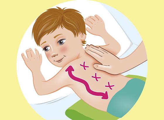 Массаж от кашля для детей - положение 2